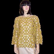 Michael Simon for Henri Bendel-Gold Metallic Crocheted Sweater