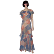 1930's Printed Chiffon Gown in Harlequin Pattern