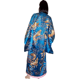 Early 20th Century Japanese Formal Kimono with Dragons for the Theater