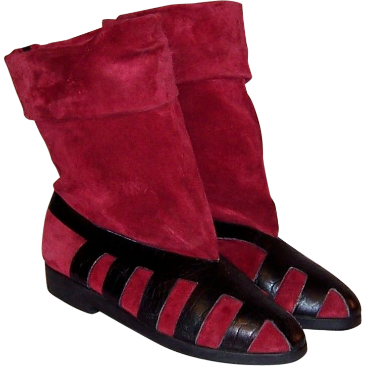 seducta france red suede and black leather pull on boots from patriciajonsfinest on ruby lane. Black Bedroom Furniture Sets. Home Design Ideas