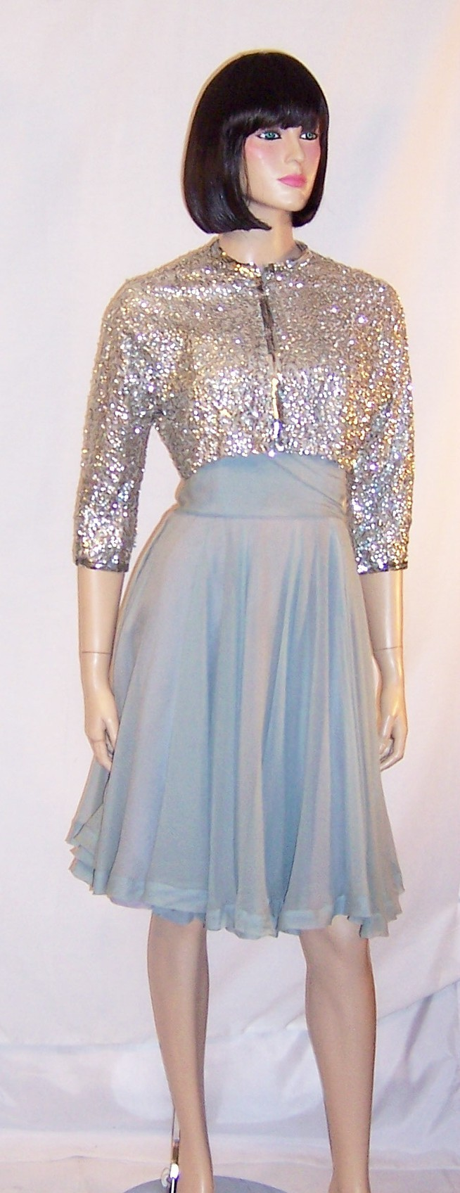 Ceil Chapman Blue Chiffon Dress With Silver Sequined