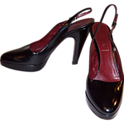 Prada-Black, Open-Heeled, Platform Pumps