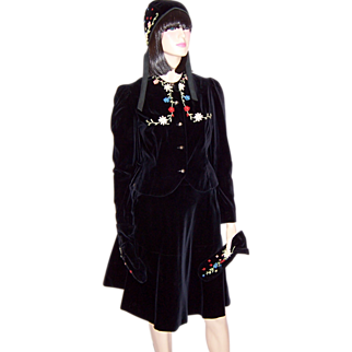 Young Lady's 4 Piece Black Velvet Embroidered Skating Outfit