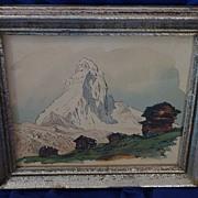 Original ink and watercolor drawing of the Matterhorn in Switzerland