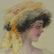Vintage watercolor painting of young woman circa 1900
