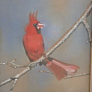 Watercolor on silk painting of a male cardinal