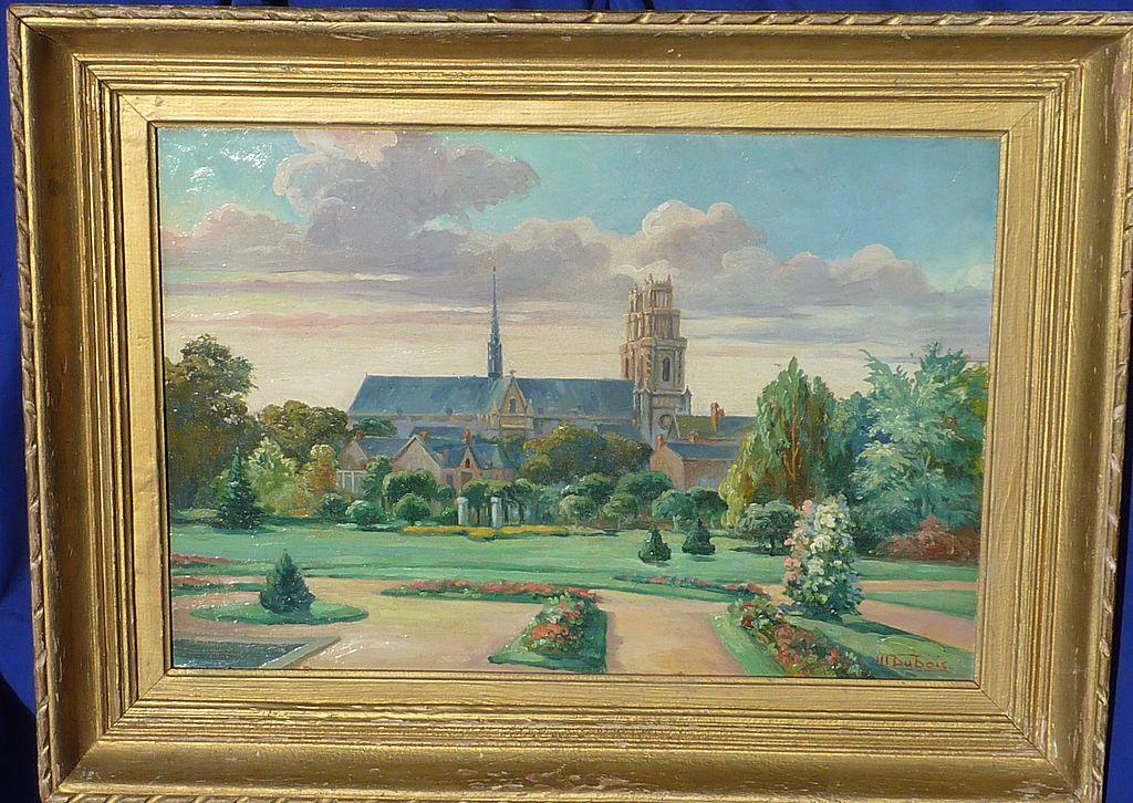 Signed M Dubois Oil On Board Garden Landscape Painting