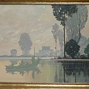 Very large elegant atmospheric landscape painting in gouache signed SEAY