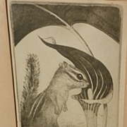 Etching print of a chipmunk by listed California artist Manfred Niedeck (1893-1949)