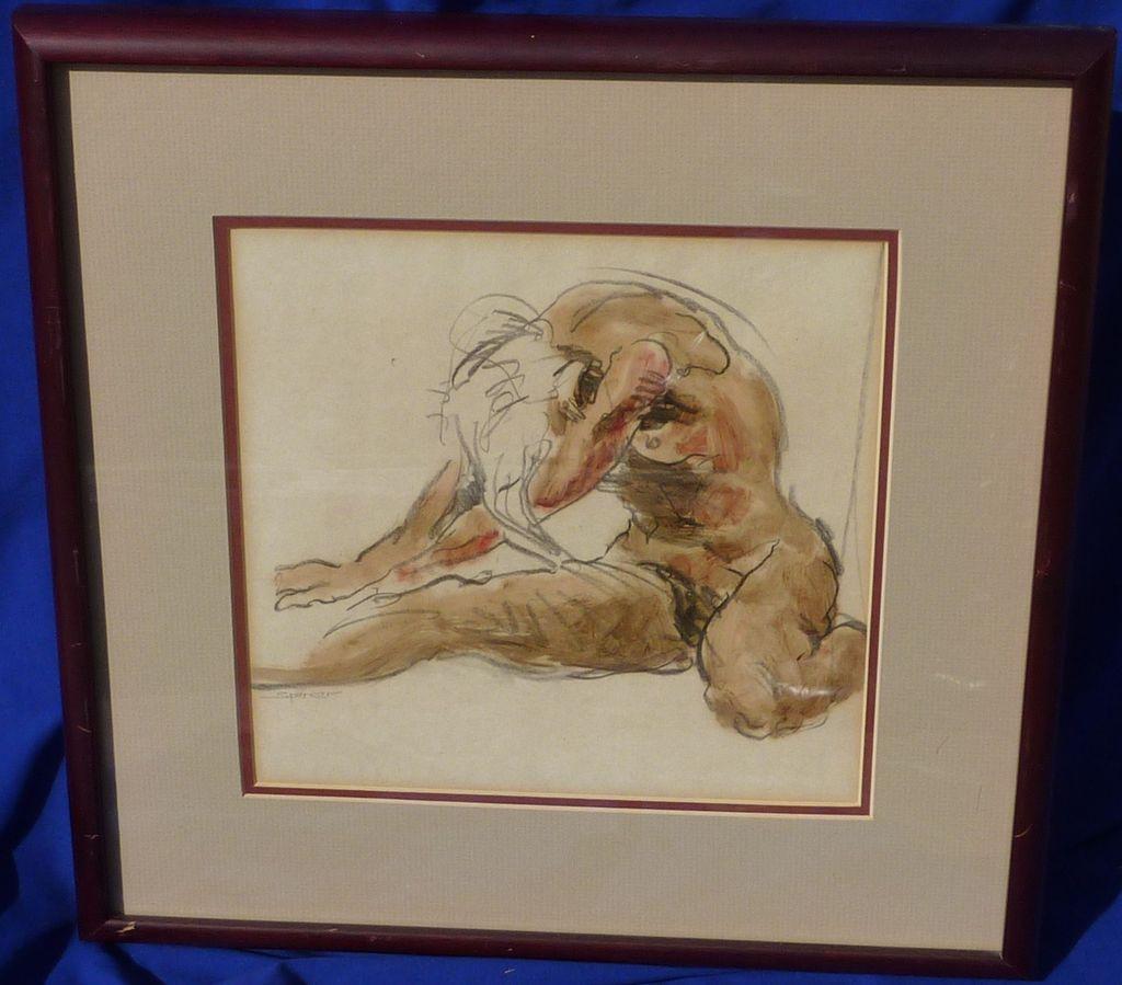 Risba s svinčnikom in akvarelom gole ženske podpisana-6129