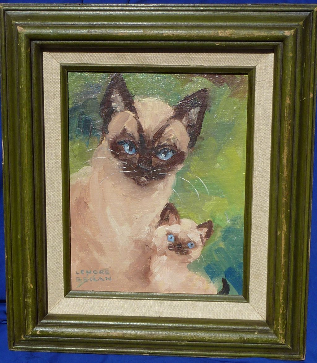 Cat art oil painting by California listed artist Lenore Beran (1925-2005)