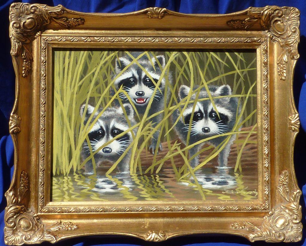 Wildlife Art Oil Painting Of Three Cute Raccoons From Dg