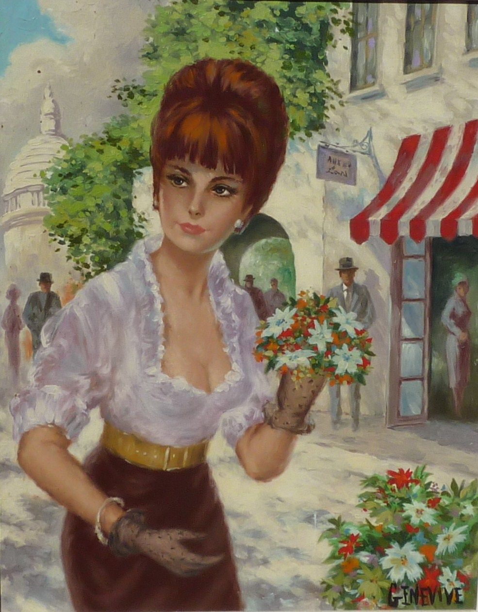 French 1950 S Painting Of Young Beautiful Lady Woman In Paris Street From Dg On Ruby Lane
