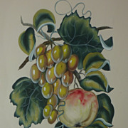 Still life fruit  watercolor painting signed Charles Adams