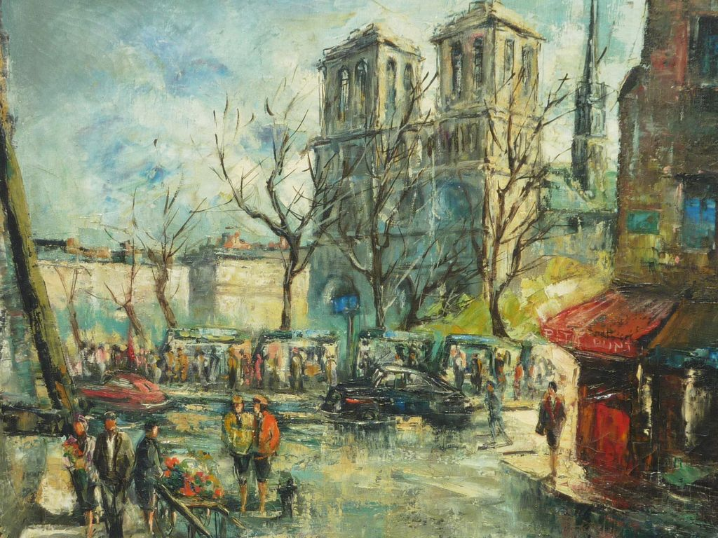 Signed Impressionist Paris Painting Of Notre Dame