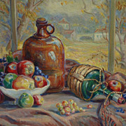 California art large still life in a landscape oil painting of fruits by listed artist Josephine Deane Valentine (1873-1945)
