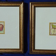 Pair of miniature botanical watercolor paintings signed by the artist