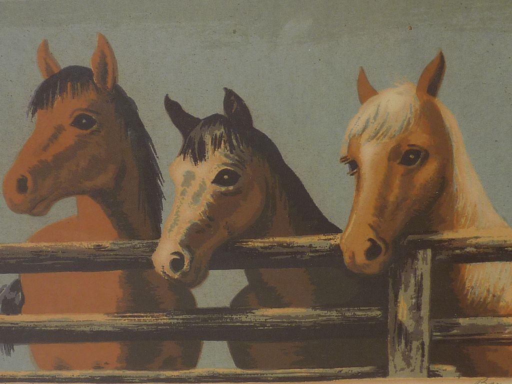 Pair of small circa 1950's silkscreen prints horses and cowboys signed by the artist