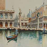 Italian art watercolor painting of tower St. Mark's Basilica in Venice