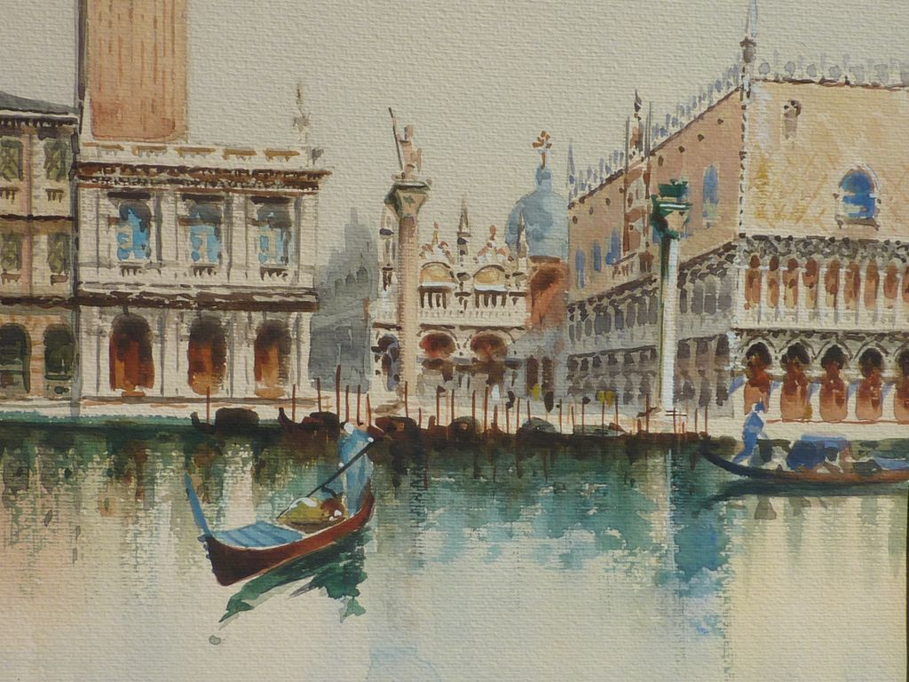 Italian Art Watercolor Painting Of Tower St Mark S