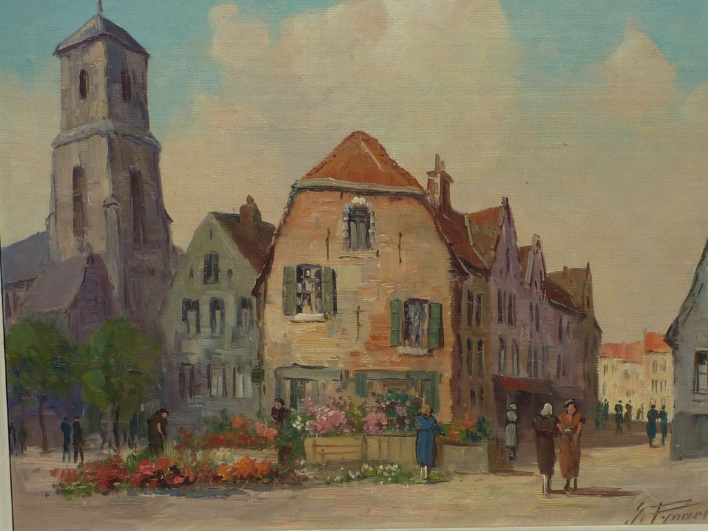 Decorative art impressionist street scene oil painting by belgian from dg on ruby lane - Decorative painting artists ...