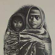 "After Elizabeth Catlett (1915- 2012) reprint of 1968 lithograph "" Rebozos"""