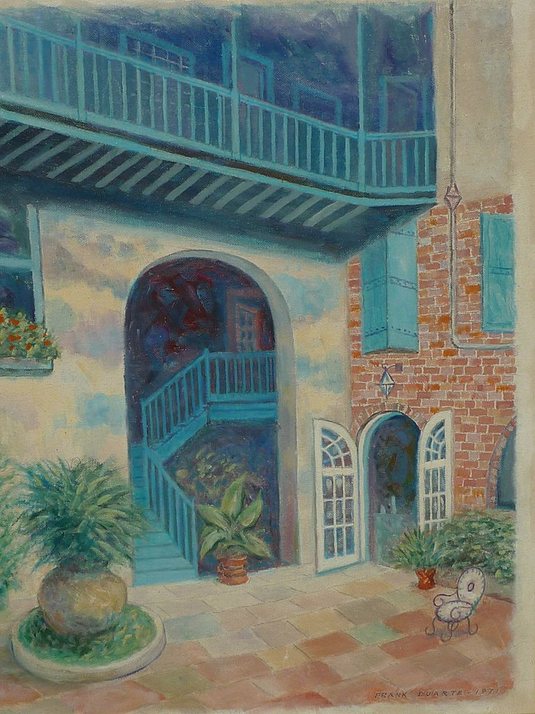 Signed Oil Painting Of New Orleans French Quarter Brulatour Courtyard From Dg On Ruby Lane