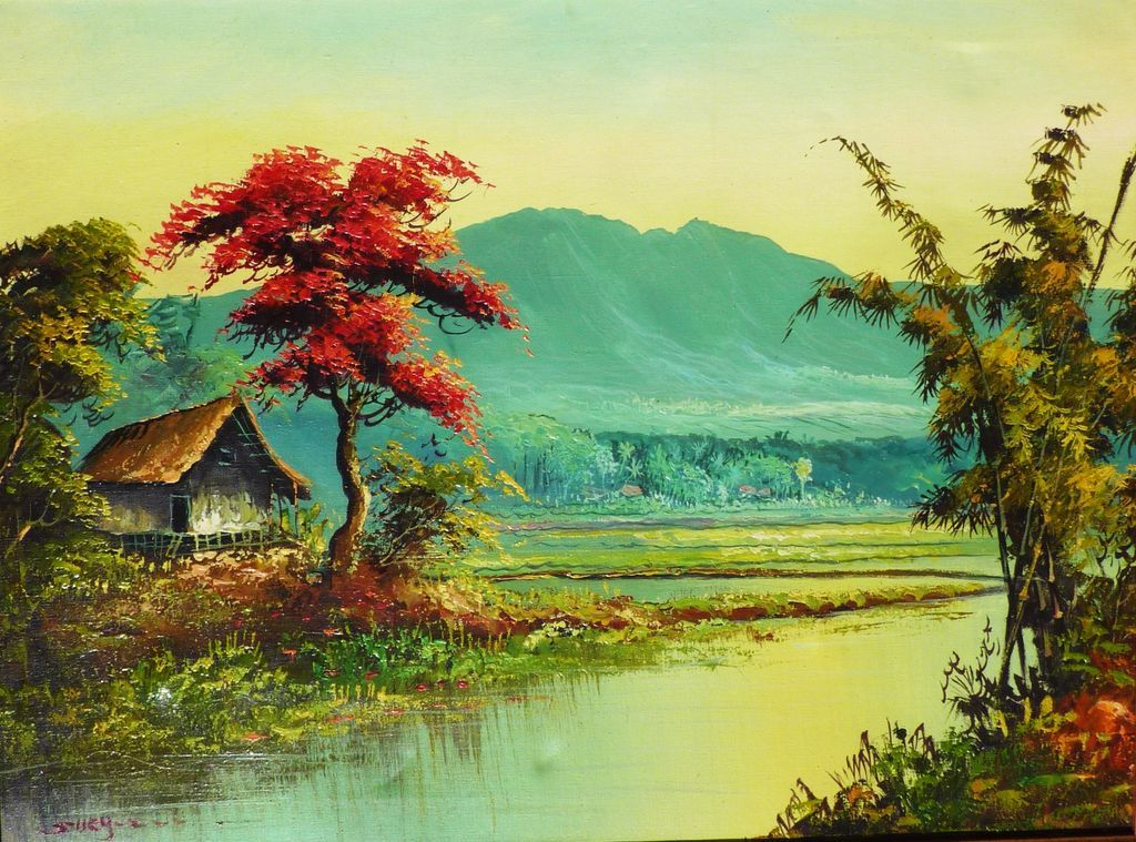 Colorful landscape oil painting of tropical Asian scene possibly : Dalia's  Gallery | Ruby Lane - Colorful Landscape Oil Painting Of Tropical Asian Scene Possibly