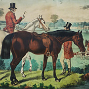 """Currier and Ives American hand colored lithograph print """"Fox - Hunting, The Meet"""""""
