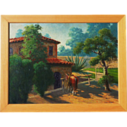 Lloyd Jenning Mitchell (1909-1978) Southern California residence  landscape with a horse painting