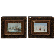 Pair small old marine art paintings of sail and steam ships in a harbor