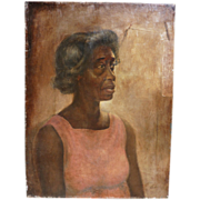 Portrait of African - American woman oil painting signed WHEDON