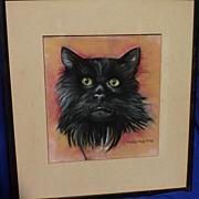Dorothy Davis Jones original signed  pastel drawing of a black cat