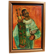 Donald Roy Purdy (1924-) oil painting of Jewish man with Torah dated 1959