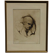 Hans Hahnel original etching portrait of clown dated 1922