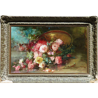 Florine A. Hyer (1868 - 1936) large and impressive still life oil painting of roses by American California artist
