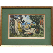 "Paul Louis Guilbert (1886- 1952) color aquatint pencil signed limited edition print "" Dejeuner Sur L' Herbe"""