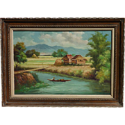 Oscar T. Navarro (1921- 1973) well listed Filipino artist landscape  painting