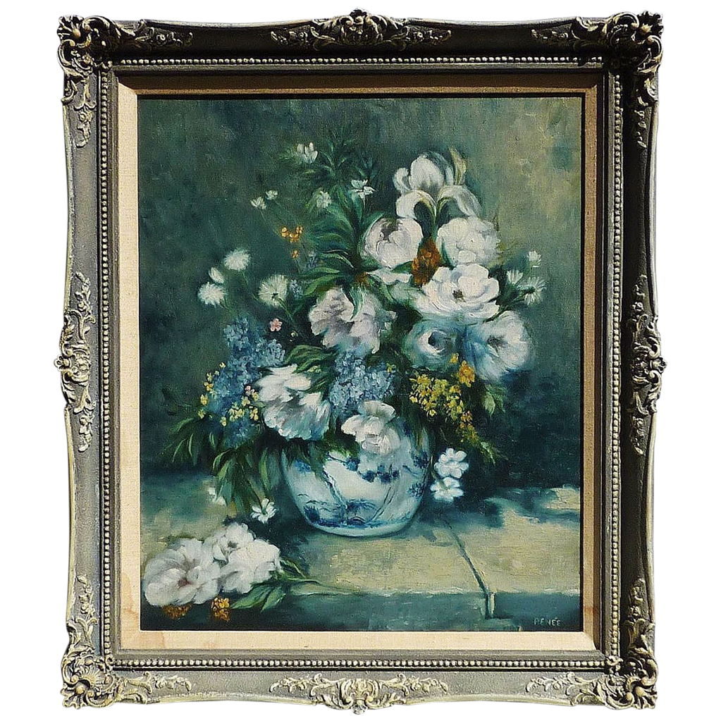 Impressionist Floral Still Life Oil On Canvas Painting Signed Renee From Dg On Ruby Lane
