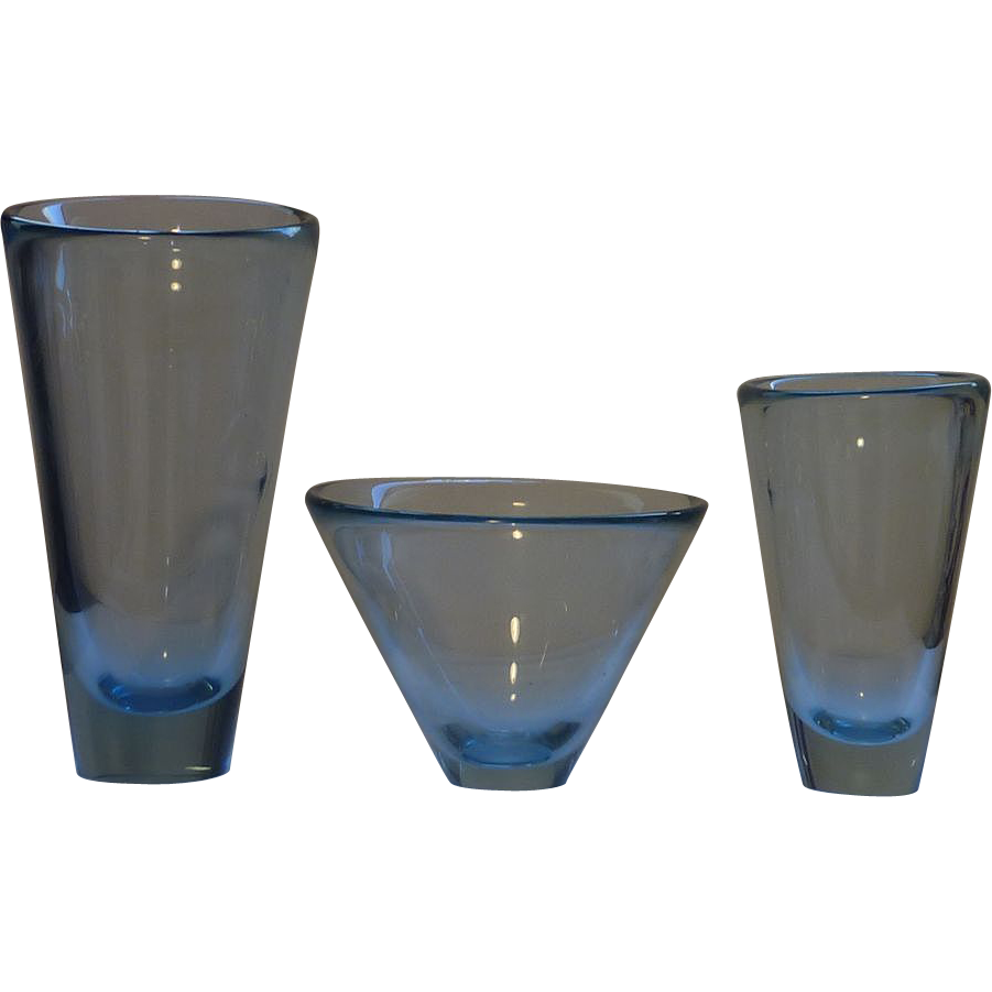 set of 3 holmegaard per lutken mid century modern blue glass vases signed