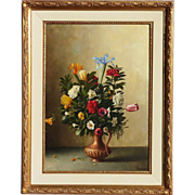 G. Becciani (1916-) Italian well listed artist floral still life oil painting of flowers