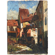 Swiss or French 1900's oil painting street scene with buildings in a town