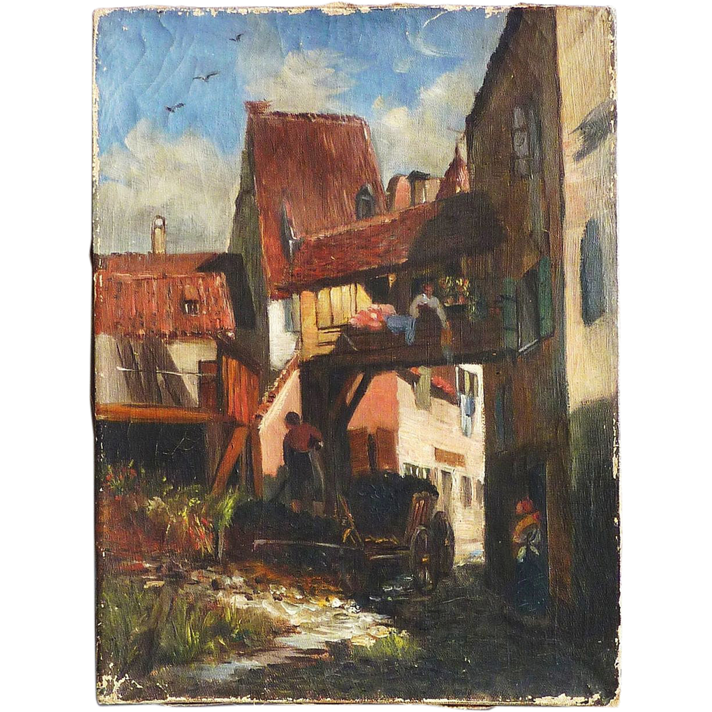 Swiss Or French 1900 S Oil Painting Street Scene With