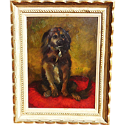 Impressionist oil painting of a spaniel or retriever dog