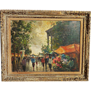 Impressionist Paris street scene oil painting signed CAREL