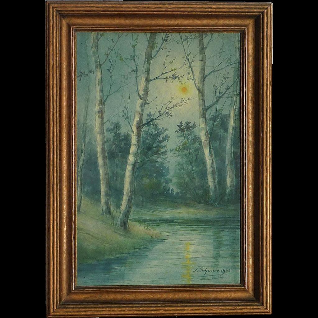 JSchumacker Watercolor Painting Of Birch Trees In