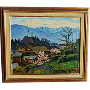 Japanese art signed vintage mountain landscape painting in spring