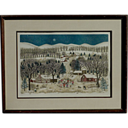 "Cuca Romley ( 1933-) hand colored etching ""Winter Lights"" by well exhibited artist"