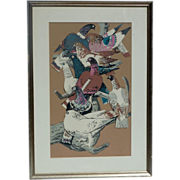 "Millard Owen Sheets (1907- 1989) American artist color serigraph print ""Startled Birds"""
