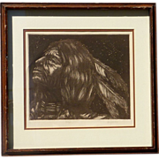Larry Fodor (1951-) pencil signed limited edition etching print of native American Indian brave dated 1974
